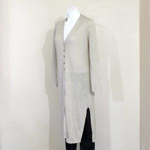 J. Jill Linen Rayon Long V-Neck Cardigan Sweater